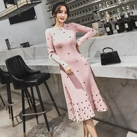 Women Pink Long Sleeve Bodycon Mermaid Knitted Dress Fall Winter Print Polka Dot Thicken Warm Ruffles Slim Sweater Midi Dress