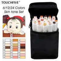 TouchFIVE 12/24 couleurs croquis tons de peau marqueur stylo artiste Double tête à base d'alcool Manga Art marqueurs pinceau stylo