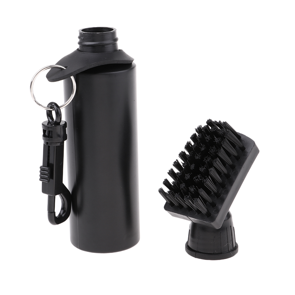 Protable Golf Club Groove Brush Plastic Cleaning Brush Golf Cleaner With Water Bottle Self-Contained Water Brush - Black Ball