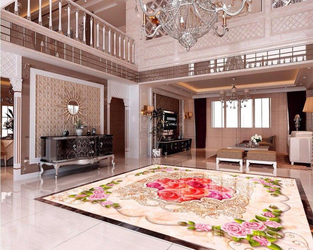 Custom Mural 3d Flooring Picture Pvc Self Adhesive Wallpaper European Roses Flower Home Decor Painting 3d
