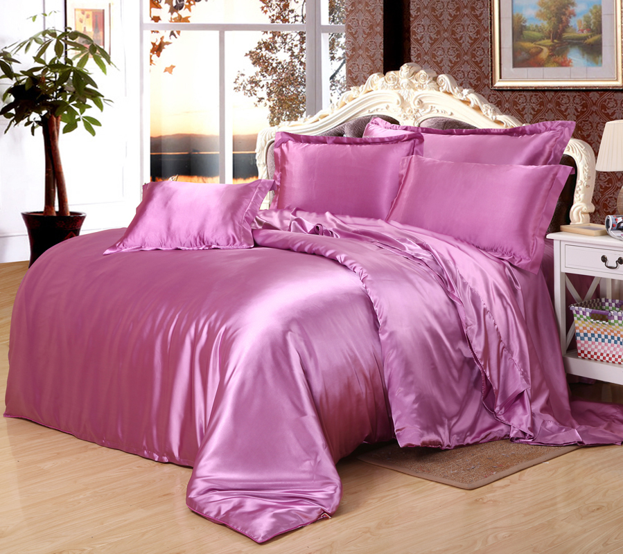 Pure 95 Silk 5 Cotton Satin Silk Bedding Set Home Textile
