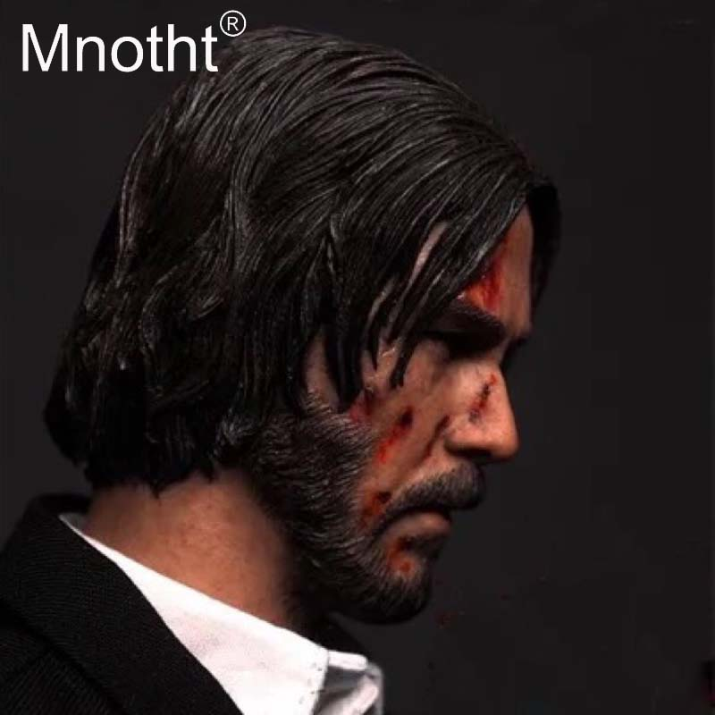 цена на Mnotht 1:6 Scale Keanu Reeves Head Sculpt Quick pursuit Male Soldier Head Carved Model For 12in Action Figure Toy Collection m3