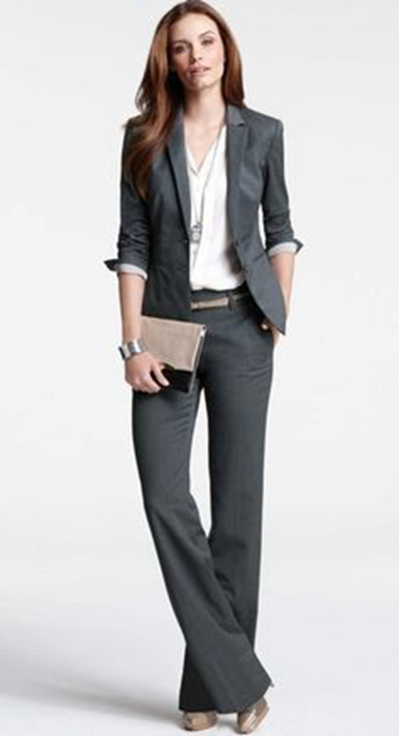 burgundy Femmes W28 La D'affaires Nouveau Pour Veste Grey Mode Ensemble Costumes Formels Charcoal navy Pantalon Blazer Et Bureau Blue Longues light Taille grey Travail De Manches khaki Plus pq5wKHwEvx