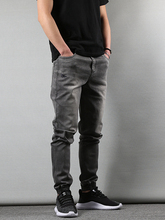 Japanese Style Fashion Men Jeans Gray Slim Fit Elastic Vintage Denim Joggers hombre Streetwear Hip Hop