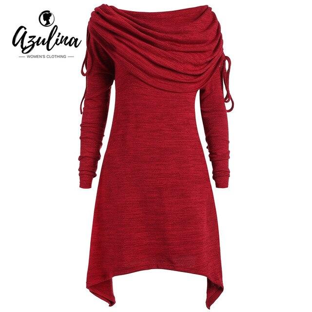 44b9cb45d7d AZULINA Plus Size Dress Women Vestido Red Black T-shirt Dress Casual Off  Shoulder Long Foldover Collar Ruched Dresses Robe Femme