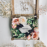 Cocostyles custom blank rustic preserved fresh flower ring acrylic gift box with gold foiling for lawn wedding