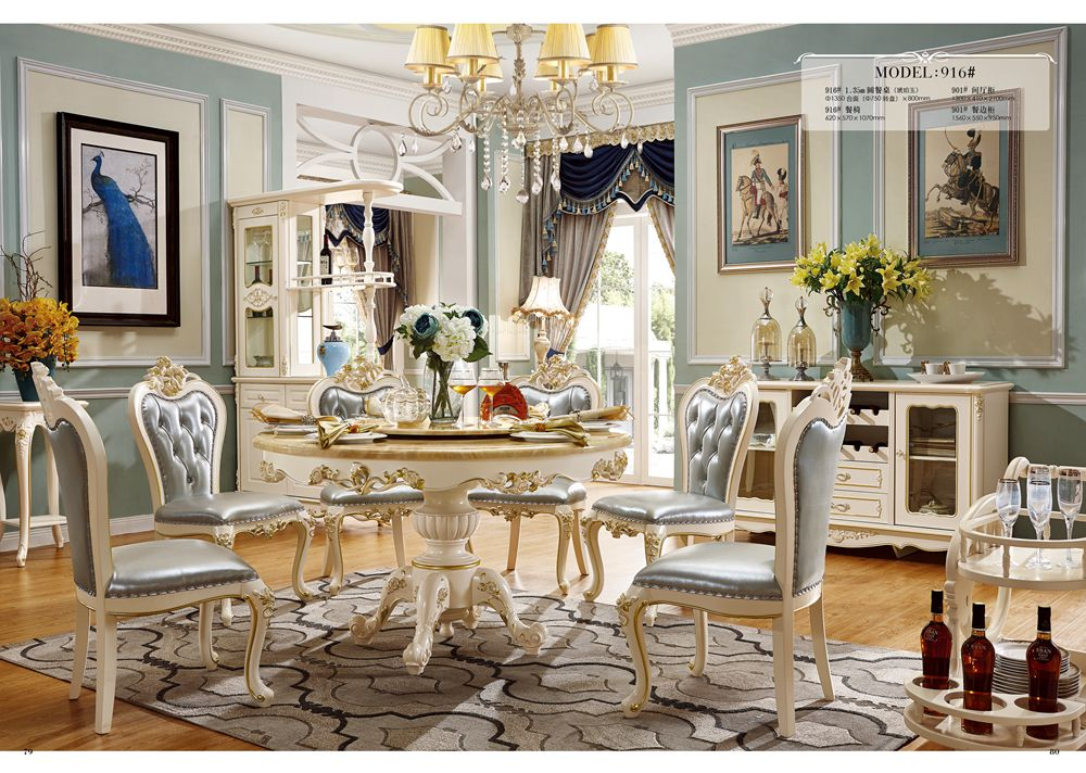 hot sale luxury solid wood Dining Table and dining chairs furniture Sets with wine cabinet