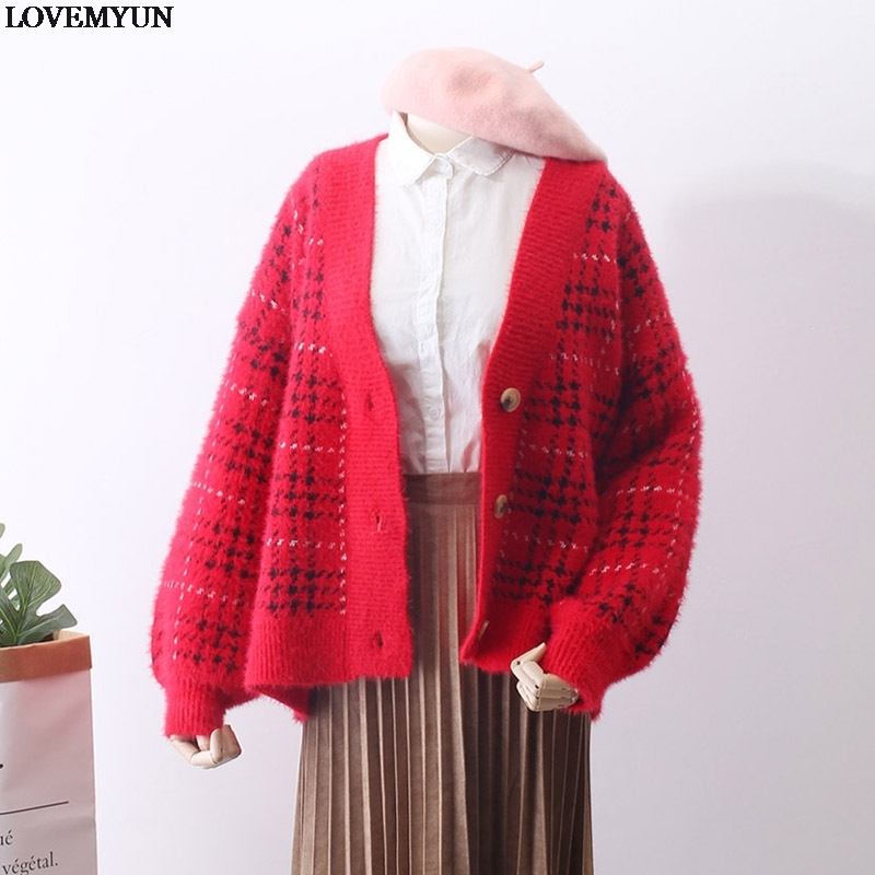 Piste V Femmes Gland Corée Femelle Chandail Automne Cou Chandails Beige Lady Tricoté Plaid Cardigan Cachemire rouge Vintage dxrCeoBW