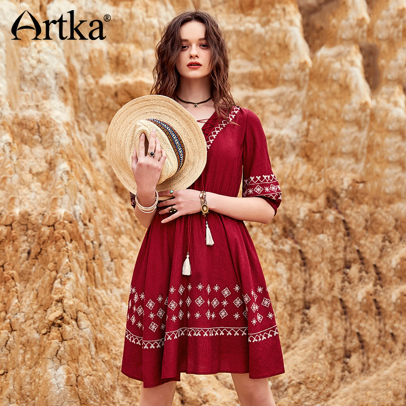 ARTKA 2018 Summer New Female Bohemian Embroidery A line Half Lantern Sleeve V neck Bandage Tassel