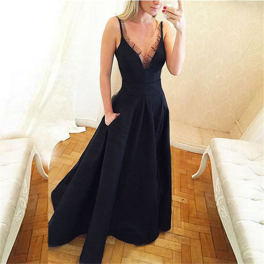 Elegant Black Long Dress Evening Spaghetti Strap A Line Satin Formal Prom Gown 2019 Custom Made Simple Women Wedding Party Dress