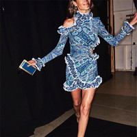 Vintage One shoulder Ruffles Printed Lace Patchwork Women Dress 2019 Spring Ruffles Slim Dress Runway Designer Dress