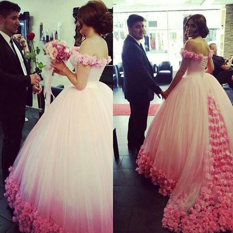 Evening Gowns White Tulle And Pink Flowers Elegant Dresses Hand Made Flower Luxury Prom Custom Make In From Weddings