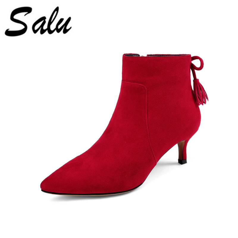Salu Fashion Sheep Suede Snow Boots Classic Ankle Shoes Genuine Leather Wool Fur Warm Square High Heel Women Boots salu winter fashion sheep suede boots classic ankle shoes genuine leather wool fur warm square high heel women boots