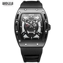 Baogela Модные Мужские Скелет Череп Световой Кварцевые Часы Военный Стиль Черный Силиконовый Rectangle Набора Наручные Часы для Man1612