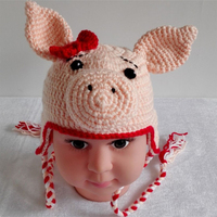 Baby Hat Crochet Ear Cute Animals Piggy Monkey Bonnet Hat Handmade Knit Soft Crochet Bonnet Newborn
