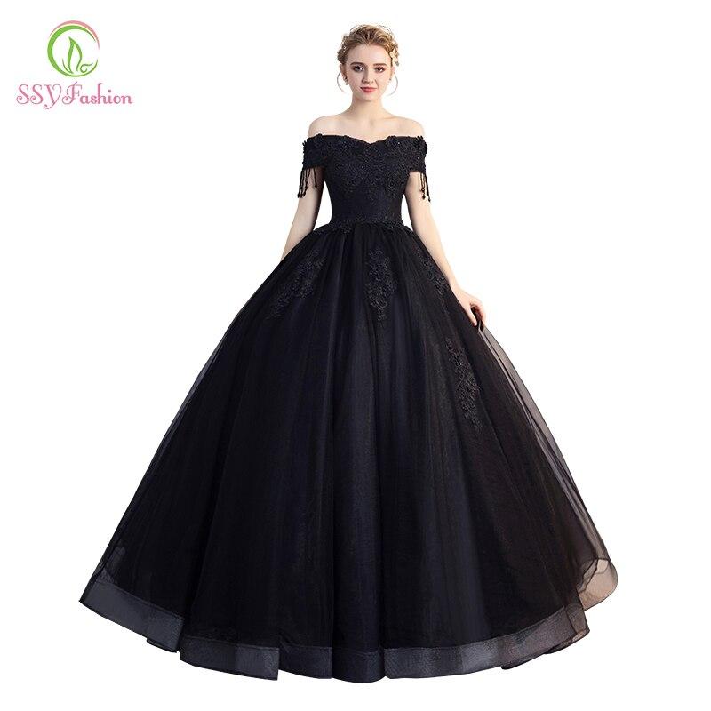 Gematigd Ssyfashion Nieuwe Black Prom Banket Elegante Boothals Vloerlengte Applicaties Kralen Avondfeest Gown Formele Jurken Mooie Glans