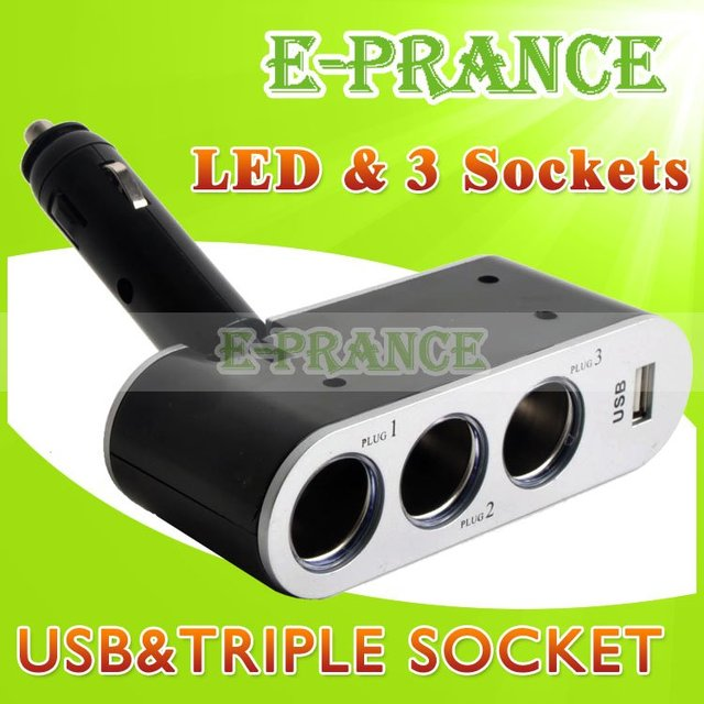 New 2014 90 Degree Adjustable 3 Way 24V Car Charger Cigarette Lighter Socket Splitter With USB Port + 3 Socket Free Shipping