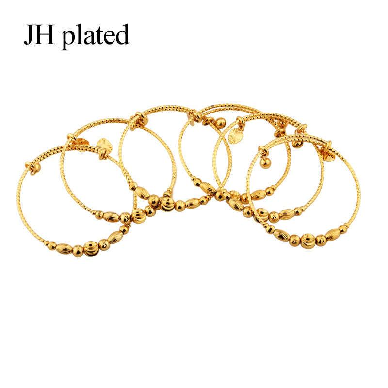 JHplated แอฟริกันเอธิโอเปียแฟชั่นสี Bell กำไลเครื่องประดับงานแต่งงานของขวัญยืดฟรีขนาด 2 มม.
