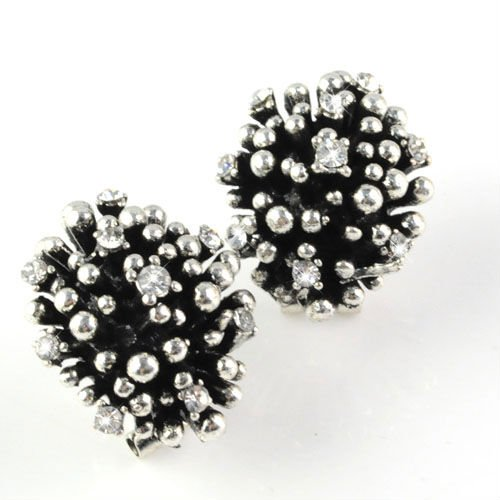 Clip Earrings Independent Fashion Vintage Silver Color With Rhinestones Christmas Earrings For Womens Statement Firework Design Alloy Clip Earring Er-526
