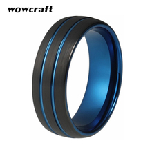 8mm Womens Mens Black Blue Tungsten Carbide Ring Wedding Band Double Grooved Brushed Finish Engagement Ring