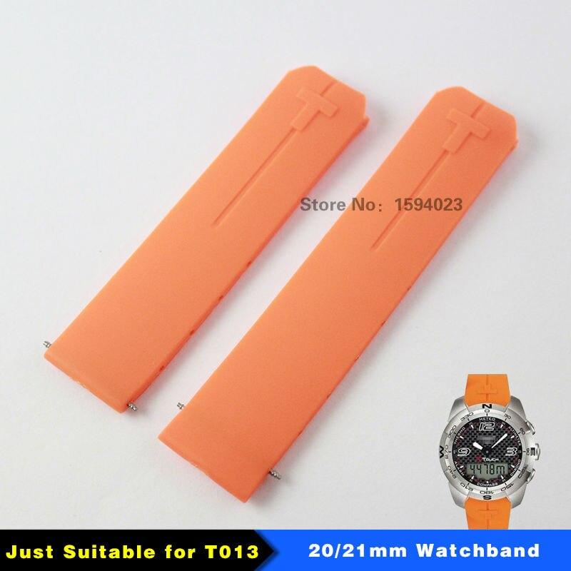 Prix pour 20mm 21mm T013 Montre bande T-Tactile II D'experts Orange Silicone Bracelet en caoutchouc bande de Montre pour T013420A ou T047420A