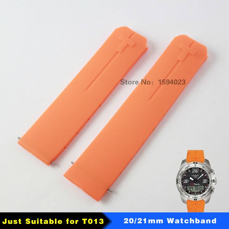 20mm 21mm T013 Watch band T-Touch II Expert Orange Silicone rubber Strap Watch band for T013420A or T047420A цена