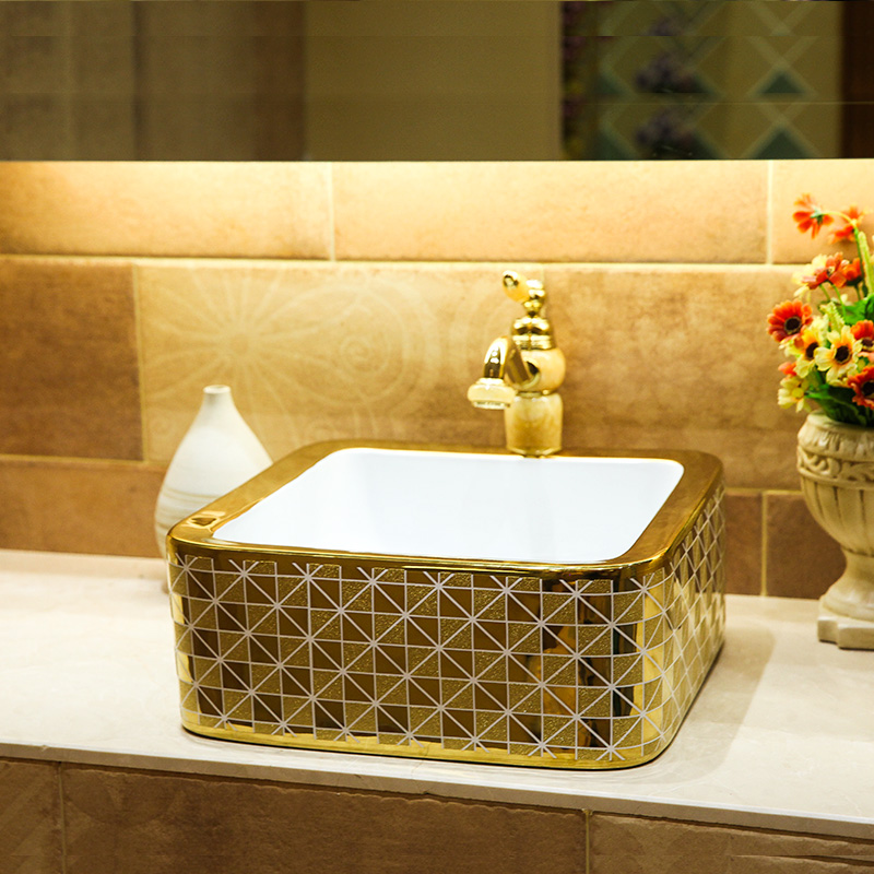 Home Hotel Decor Artistic China Wash Basin Ceramic Art Bathroom Vessel Sinks Counter Top Square Silver Gold Mosaic In Bathroom Sinks From Home
