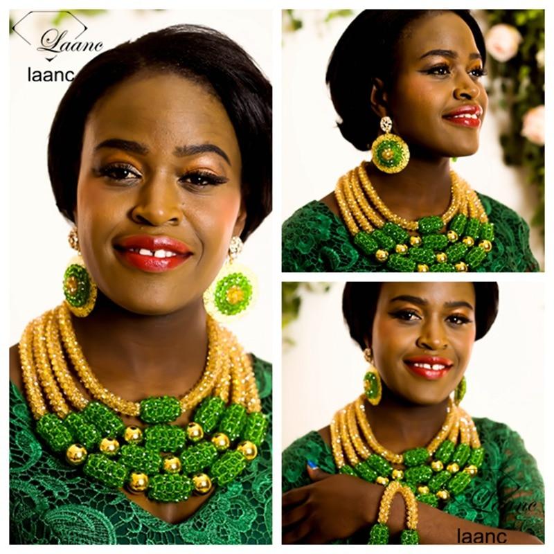 Marque Laanc Grand Mariage Nigérian Perles Africaines Ensemble de Bijoux En Cristal Vert et Or AB Indien Dubaï Collier Bijoux AL242