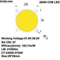 MARSWALLED CRI RA 95+ High Power Density COB LED Daylight White 5600K DC47-52V 4.1A 200W 21000LM for DIY Flood Light Spotlight
