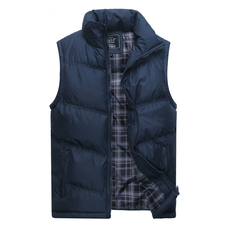 Men of new fund of 2018 autumn winters is recreational vest Collar pure color vest M-2XL CHEST 88-100CM