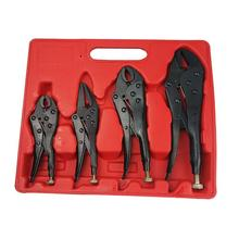 4pcs Muti Functional Locking Pliers Ground Mouth Straight Jaw Lock Vise Grip Clamp Cutting Pliers Hand Tool For Industry(Black) pro curved straight welding tool straight jaw locking mole vice grips pliers hand tools