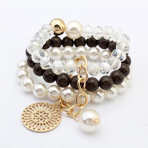 5a5781c208e0 LEMOER 2017 moda Multilayer imitación perla piedra pulseras y brazaletes  redonda Placa de Aleación encanto hombres pulseras mujer en Pulseras del  encanto de ...