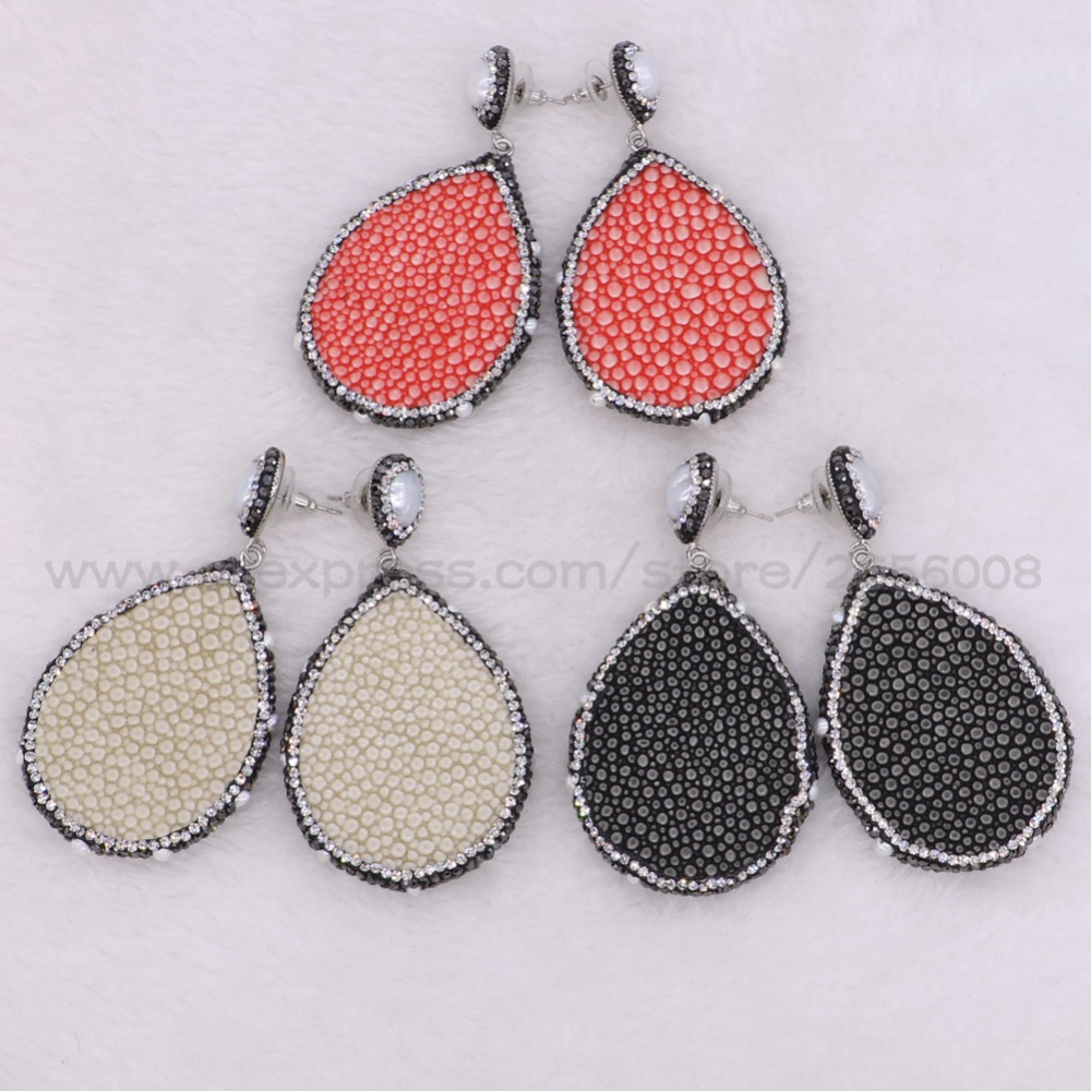 Mix color fish skin Geometric hollow dangle earrings drop earrings Pave rhinestone fashion jewelry women Gift 2204