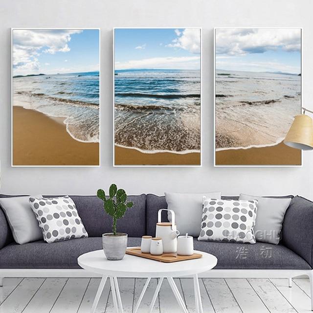 HAOCHU Europa Mediterrane Blauw Water Zee Strand Landschap Canvas ...