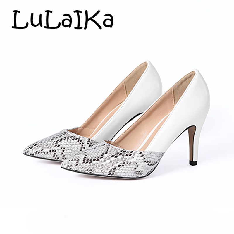 2018 Classic Sexy Snake Grain Pointed Toe High Heels Women Pumps
