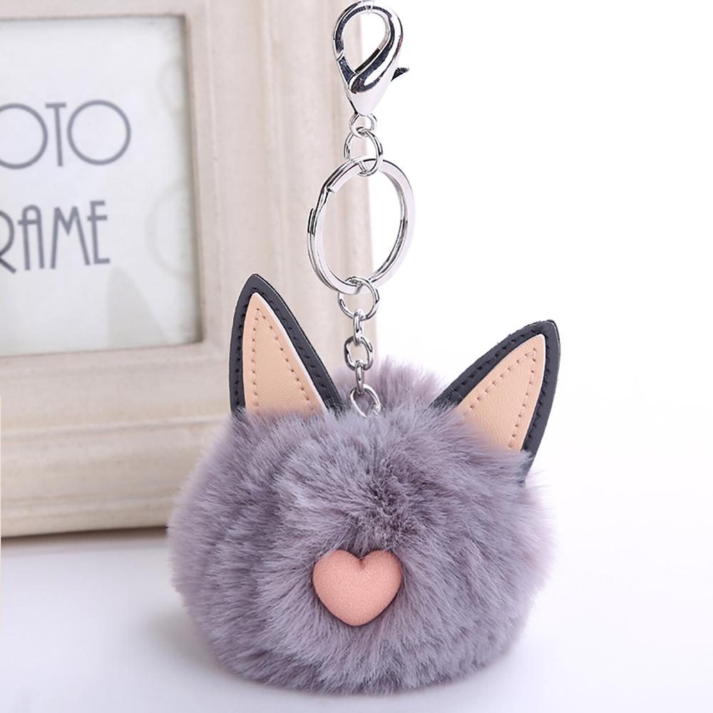 Genenic Fluffy Rabbit Fur Toys Cat Ear Keychain Fluffy PomPom Key ... 58cb2218b