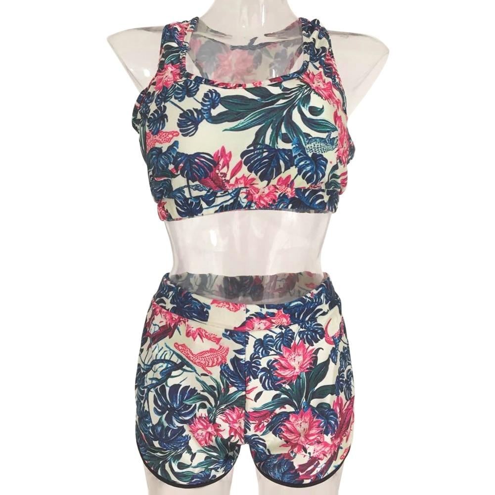 Bikini Swimwear Women Floral Printed Bikini Set Padded high waist Beachwear Bathing Suit 1