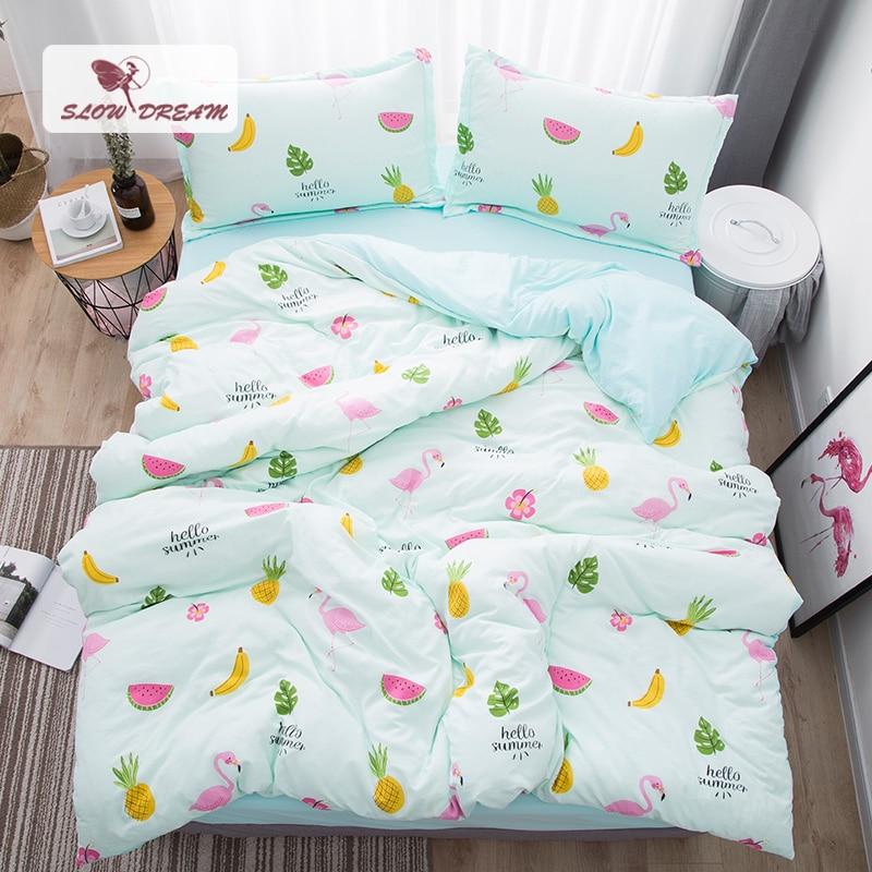 SlowDream Flamingos Bedding Set Nordic Bedspread Comforter Luxury Duvet Cover Double Sheets Twin Queen King Green