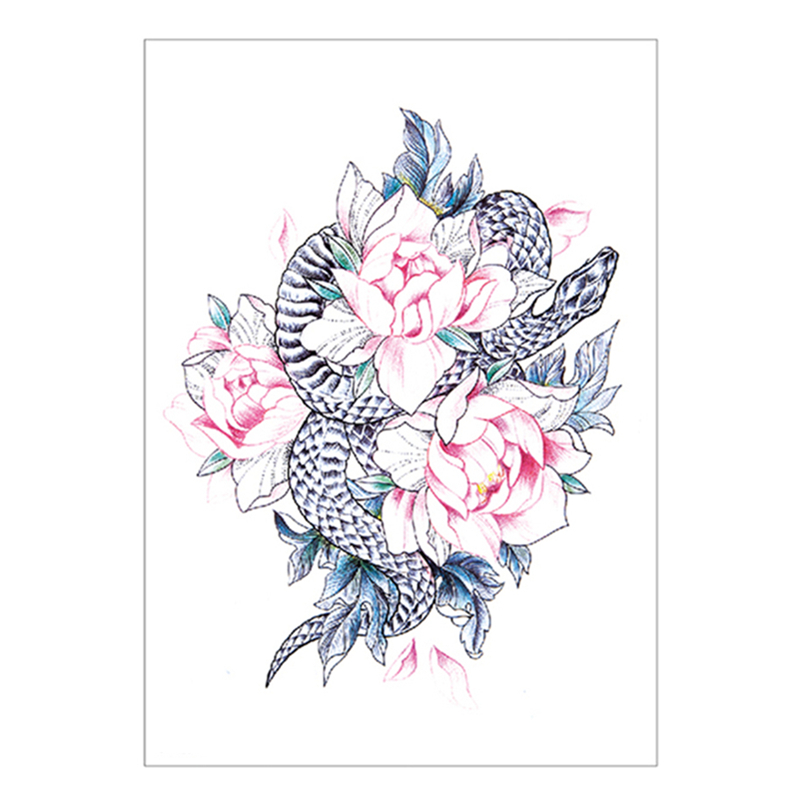 Beauty & Health Waterproof Fake Tatoo Henna Wall Sticker Temporary Tattoos Capable Snake Peony Temporary Tattoo Sticker,15*21cm Flash Tattoo Stickers
