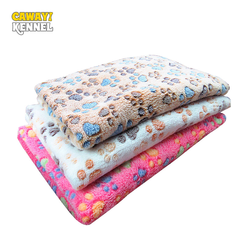 CAWAYI KENNEL Dog Dog Pet Soft Coral Fleece Warm Thermal Blancet Paw Print Mat Օդորակիչ վերմակ 3Color D0206