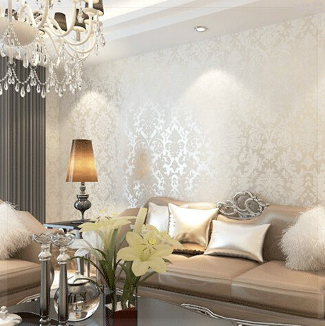 Damask living room living room for Damask wallpaper living room ideas