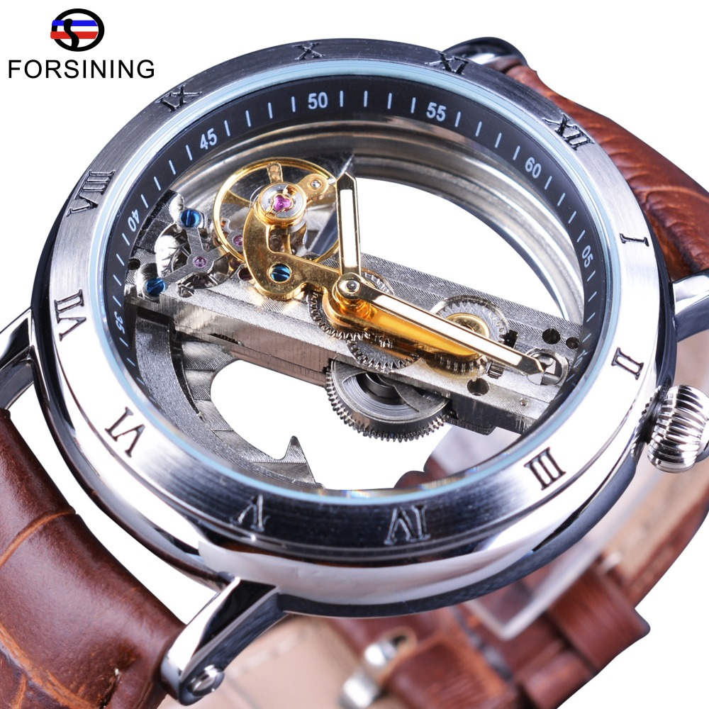 Forsining Minimalizm Design 2017 Brown Skórzany pasek Transparent Case Men Watch Top Brand Luxury Steampunk Automatic Wristwatch