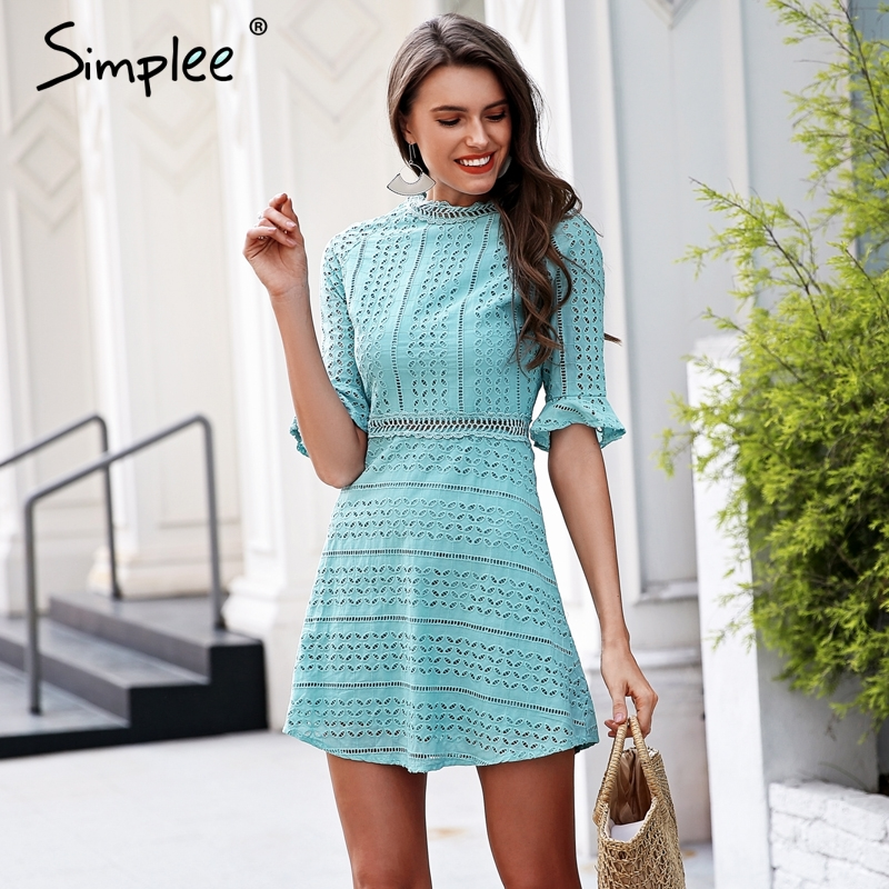 5e79f314a72c Simplee Elegant hollow out lace dress women Half sleeve summer style midi  white dress 2018 Spring short casual dress vestidos-in Dresses from Women s  ...