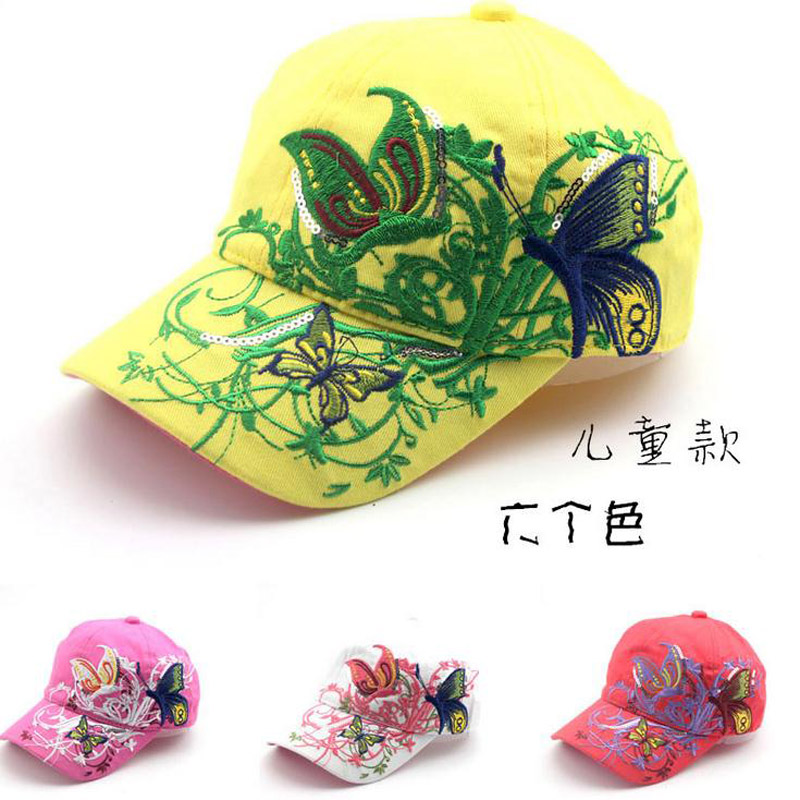2016 Korean Butterfly Embroidery Children Hip Hop Baseball Cap Candy colors Summer Hat Boys Girls snapback Caps