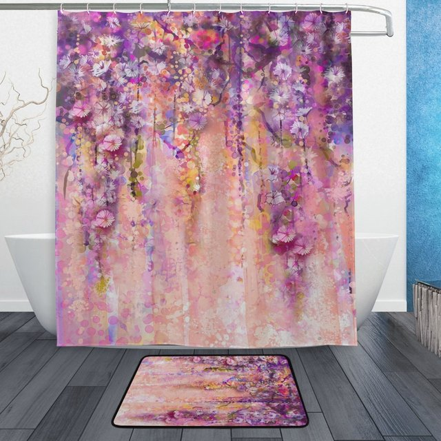Abstract Flowers Watercolor Painting Shower Curtain And Mat Set Spring Purple Florals Waterproof Fabric Bathroom