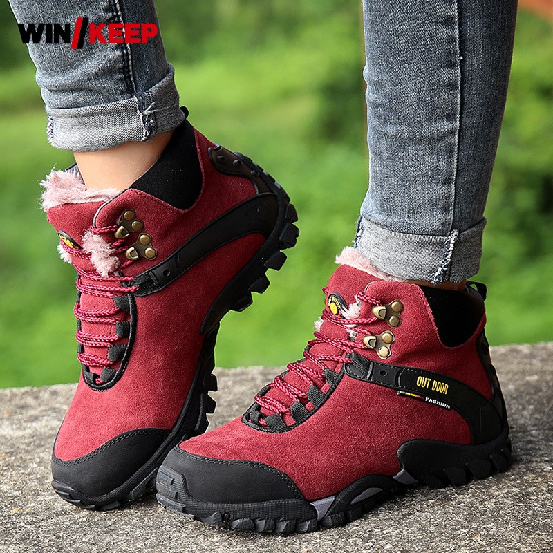 Men Waterproof Hiking Boots High Top Camping Mountain Climbing Shoes Outdoor Sports Trekking Sneakers Winter Fleece Lining Boots humtto new hiking shoes men outdoor mountain climbing trekking shoes fur strong grip rubber sole male sneakers plus size