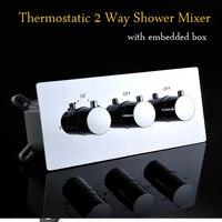 Приспособления для кухни и ванной термостатический кран Смешивание Клапан 2 способов скрытого простой монтаж переключателем/смеситель для