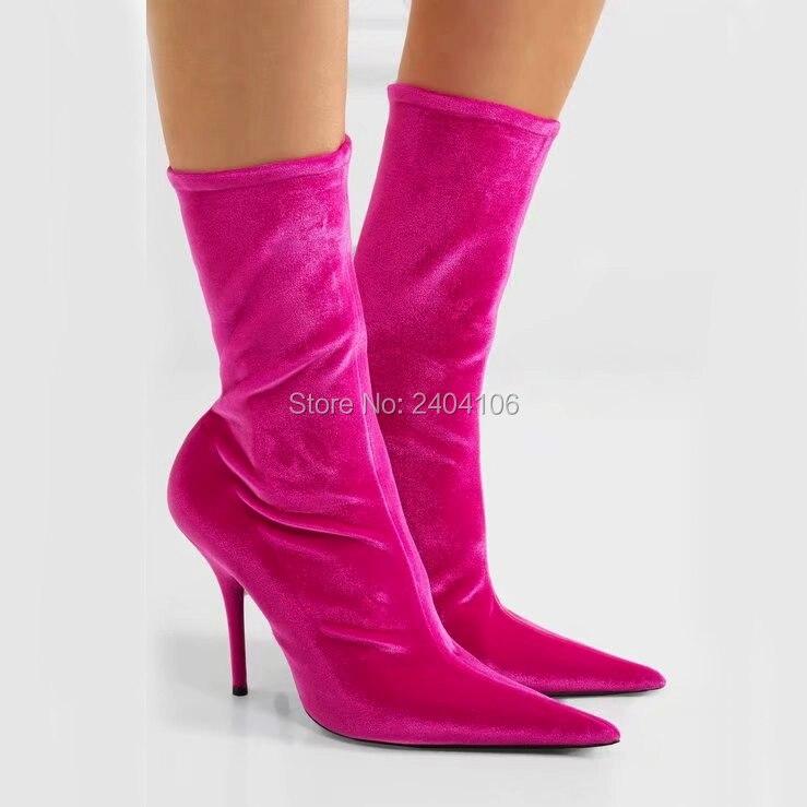 In Stretch 14 Elastischen High Schuhe mode Grün Socke Booties Rot Us62 Frauen Stiletto Frau Stiefeletten Spitz 35Off Heels Floral Schwarz Rosa BCWxoerd