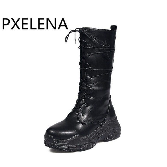 PXELENA Thick Flat Platform Creepers Punk Gothic Boots Women Lace Up Mid  Calf Riding Knight Martin 19c90d3ba36c