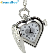 Relogio Feminino Reloj Mujer Saat Clock Horloge Classic Steampunk HEART Locket Fashion Pendant Pocket Girls Watch Necklace 2017